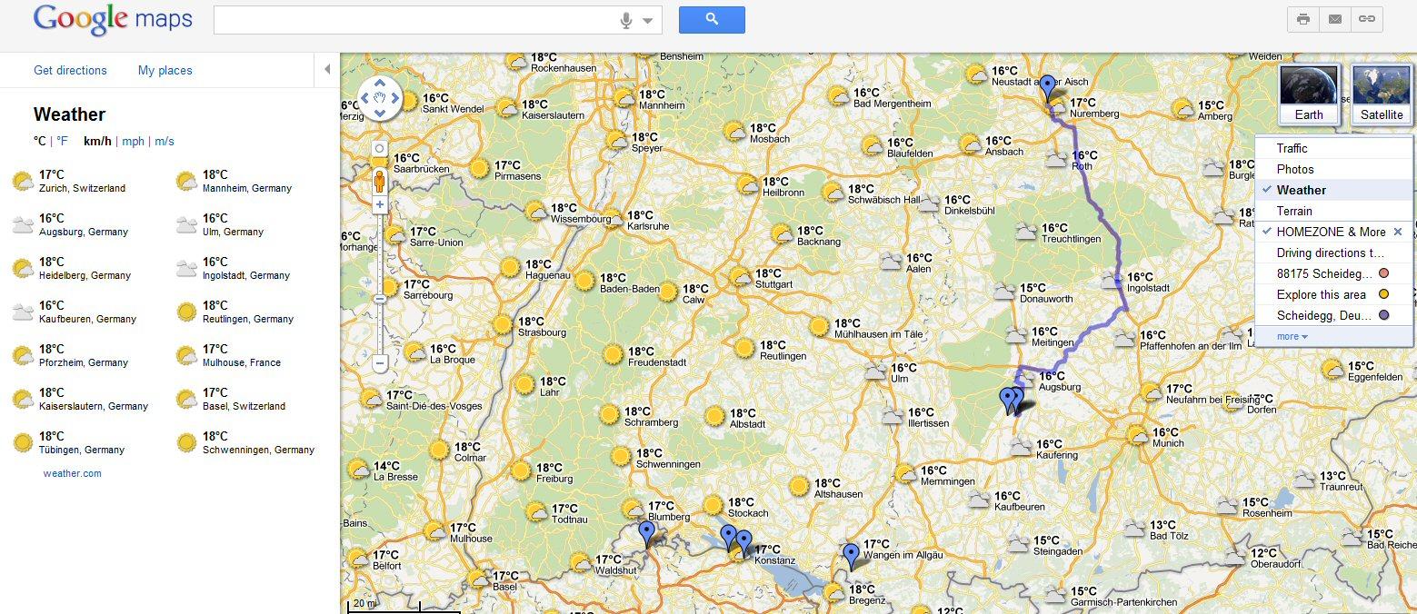 Google Maps jetzt mit Wetterinfo