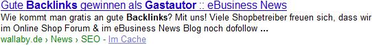 Google Sitelinks im eBusiness News Blog