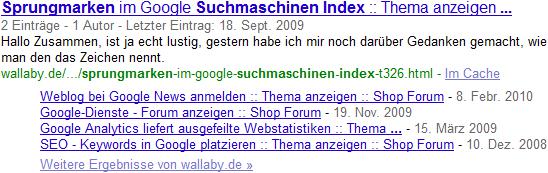 Google Sitelinks zu Forenposts