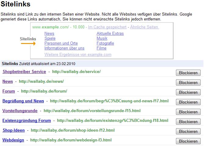 Google Sitelinks Anzeige Webmaster-Tools